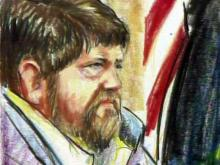 An artist's sketch depicts Robert Kenneth Stewart as he listens to testimony in his murder trial on Aug. 8, 2011. Stewart is charged with eight counts of murder in a March 2009 shooting rampage at a Carthage nursing home.