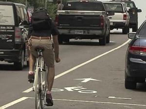 A bike lane on Hillsborough Street near North Carolina State University.