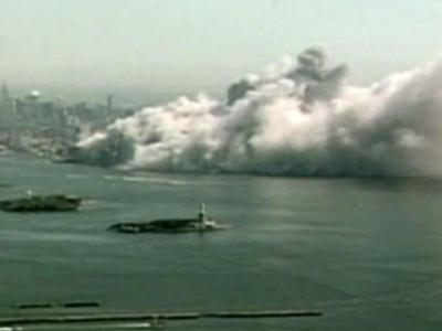 A view of the twin towers collapsing in New York City.