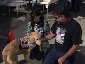 The Carolina Patriot Rovers provide therapy dogs – named after fallen soldiers – to service members with psychological trauma. During a bike rally Saturday to raise money for the group, Todd and Virginia O'Leary, of Wake Forest, met Dan-O, the golden retriever named after their son, Daniel, who was killed in Iraq.