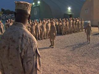 Men and women from two branches of the U.S. military crossed paths Thursday at Bagram Airfield in Afghanistan. Marines from Camp Lejeune were headed home to North Carolina, while soldiers from Fort Bragg were beginning a year-long deployment.