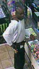 Fayetteville police are looking for the man in this surveillance video, which was taken from a convenience store near the Innkeeper Hotel on Skibo Road in Fayetteville, where Pfc. Chad Dellit was found shot to death on Sept. 21.