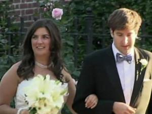 Cate Edwards and new husband Trevor Upham leave the University Methodist Church in Chapel Hill on Oct. 22, 2011, after their wedding ceremony.
