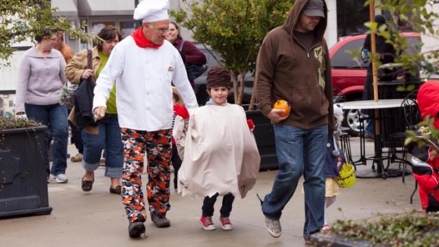All the kids and parents walked around North Hills for the Halloween parade.