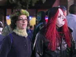 Halloween revelers in Chapel Hill trickled onto Franklin Street Monday night for the town's famed celebration, despite a rainy forecast and efforts by town officials to keep crowds down.