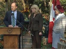 Raleigh Mayor Charles Meeker, Nell Joslin and Mary Coker Joslin appear at a news conference Nov. 14, 2011, announcing a donation for a new city park.