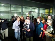 Durham novelist and one-time mayoral candidate Mike Peterson is surrounded by media and well-wishers on Dec. 15, 2011, as he leaves jail for the first time in more than eight years while awaiting a new trial in his wife's 2001 death.