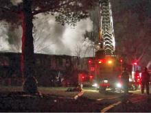 A fire at Green Castle Apartments, 2647 New Hope Church Road, destroyed seven townhouses, leaving more than 25 people homeless early Dec. 25, 2011.
