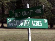 Intersection of Old County Home Road and Country Acres Road near Henderson