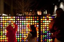 A giant Light Bright provides entertainment for people of all ages during First Night.