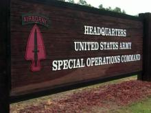 Special Operations Command sign at Fort Bragg