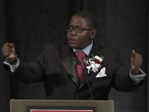 """Enloe High School student Adrian Bullock delivers Dr. Martin Luther King's """"I Have a Dream"""" speech on Jan. 16, 2012."""