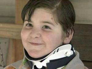 Slayton Maness, a third-grader at Robbins Elementary School, was hit by a pickup truck at his bus stop on Nov. 2, 2011.