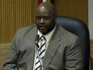 Johnston County Magistrate Sam Blake Jr. testifies in his own defense on Feb. 21, 2012, and was found not guilty of threatening a criminal suspect.