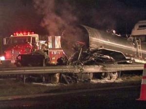Frankie Graves was severely burned during this wreck on I-95 just south of the Harnett County line in October 2009.