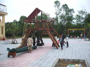 Locals veterans helped raise the money and build this playground in Vietnam.