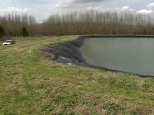 Holding pond for wastewater at Seaboard water treatment facility