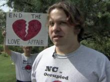 Organizer Jeremy Gilchrist talks about Occupy Raleigh's mission during a rally in Fletcher Park in downtown on Sunday, March 25, 2012.