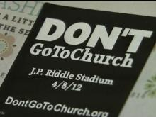 Fayetteville Observer sticker don't go to church