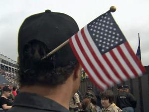 American flags were a popular accessory at Charlotte Motor Speedway Saturday.