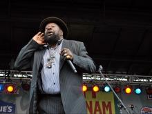 George Clinton seeks audience feedback during his performance Saturday, March 31 for the Vietnam Veterans Homecoming.