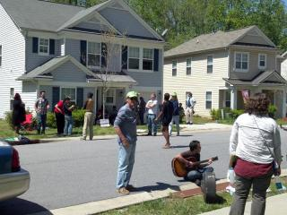 Raleigh police arrested seven people Monday who were accused of trespassing at a foreclosed Raleigh home during a protest over predatory lending by Wall Street banks.
