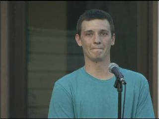 Michael Bordeaux prayed for the safe return of his wife Friday at a vigil in Fayetteville.