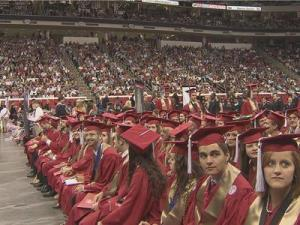 More than 5,200 graduates of North Carolina State University packed PNC Arena Saturday, May 12, 2012 for commencement ceremonies. Alumnus and NFL quarterback Philip Rivers gave commencement remarks.