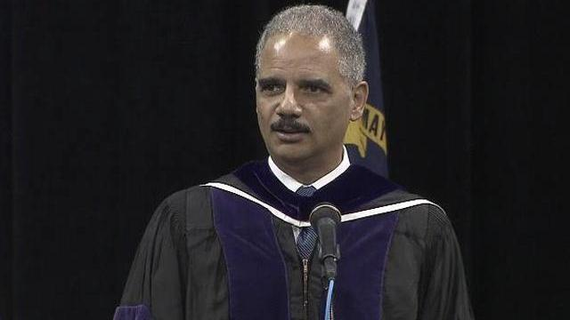 U.S. Attorney General Eric Holder spoke to new graduates of the University of North Carolina at Chapel Hill's School of Law Saturday.