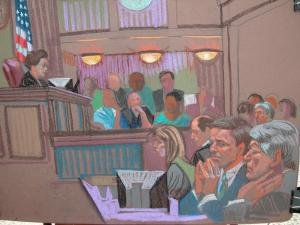 U.S. District Judge Catherine Eagles instructs jurors on the law on May 18, 2012, before they begin deliberating the fate of John Edwards. (Sketch by Christine Cornell)