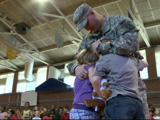 Having been deployed in South Korea for the past year, Army Sgt. Michael Jernigan surprised his children, Austin, 8, and Micala 9, at Corinth Holders Elementary School on June 8, 2012.
