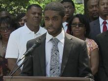 At a June 22, 2012, news conference Jonathan Wall speaks about his claims that he was thrown out of The Downtown Sports Bar and Grill because he is black.