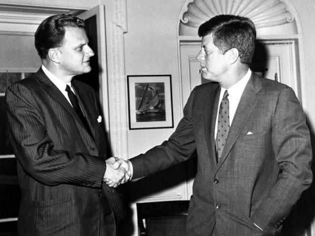 Rev. Billy Graham meets with President John F. Kennedy in 1961. (Photo courtesy of Billy Graham Evangelistic Association)