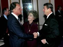 Rev. Billy Graham meets with President Ronald Reagan and first lady Nancy Reagan. (Photo courtesy of Billy Graham Evangelistic Association)