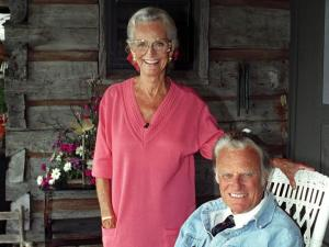 Billy and Ruth Graham celebrate their 50th anniversary at their home in Montreat in 1993. (Photo courtesy of Billy Graham Evangelistic Association)