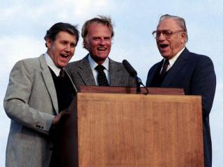 Singers Cliff Barrows, left, and George Beverly Shea joined Rev. Billy Graham during many of his crusades. (Photo courtesy of Billy Graham Evangelistic Association)