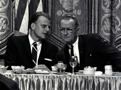 Billy Graham with Lyndon Johnson
