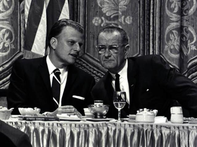 Rev. Billy Graham speaks with President Lyndon Johnson. (Photo courtesy of Billy Graham Evangelistic Association)