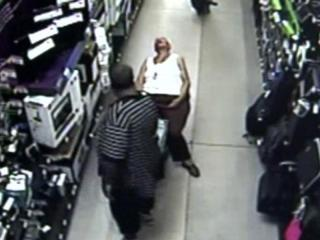 A 76-year-old woman shopping at a Roxboro Wal-Mart Monday was robbed of her purse and other belongings after she fell asleep in the store, police said Wednesday.