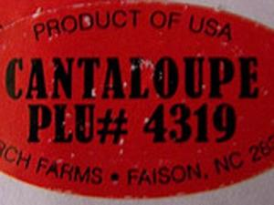 Recalled cantaloupes from Burch Farms bear this sticker.