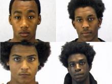 Left to right: Jerome Jilah Butts, 19, Leonard Eugene Joyner, 21, Kevin Edward Smith, 18, and Curtis Omar Etheredge, 17