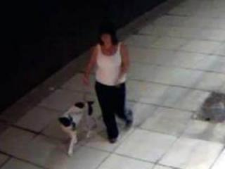Clayton police are trying to locate a woman who failed to clean up after her dog went to the bathroom outside the police department on Sept. 17, 2012.