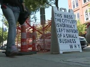 "When the City of Raleigh tore up the sidewalk in front of a downtown pharmacy, the owner decided to fire back with a message that's getting attention from passersby. John Johnson, who owns Hamlin Drug Company on Hargett Street, posted a sign on the sidewalk that reads: ""This mess the city left is normally left in front of a small business. Why?"""