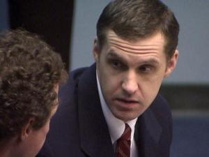 Matthew Salentine consults with his defense attorney, Mike Howell, during a sentencing hearing Oct. 26, 2012. Salentine could face the death penalty after being convicted of first-degree murder in the June 2010 beating death of Patricia Stevens.