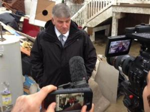 Rev. Franklin Graham, chief executive officer of Samaritan's Purse, speaks to reporters while surveying damage at Long Beach in New York on Nov. 12, 2012.