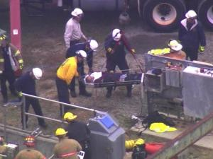 It took firefighters and EMS about 45 minutes Thursday to rescue a man trapped in an underground work space at a Fuquay-Varina water treatment plant.