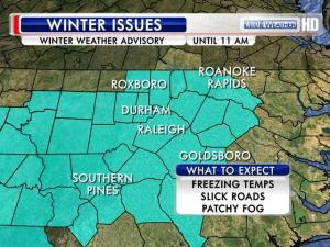 A Winter Weather Advisory is in effect until 11 a.m. Saturday.