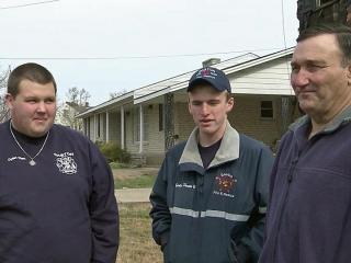 Firefighters Dylan Clark, Lt. Eddie Porter and Pete King