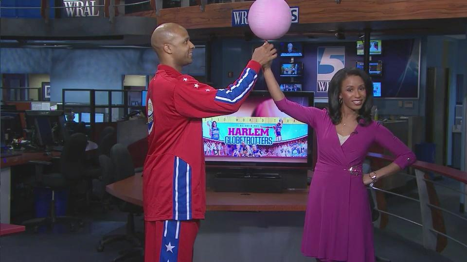 Michelle Marsh Learns New Move From Harlem Globetrotter Wralcom