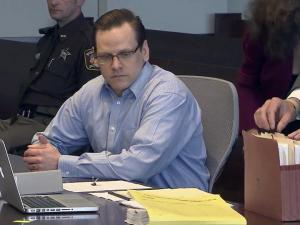 Raven Abaroa sits in a Durham County courtroom on April 12, 2013, during a pre-trial motions hearing. Abaroa is charged with killing his pregnant wife in their Durham home in April 2005.